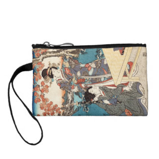 Cool japanese vintage ukiyo-e geisha old scroll coin wallet