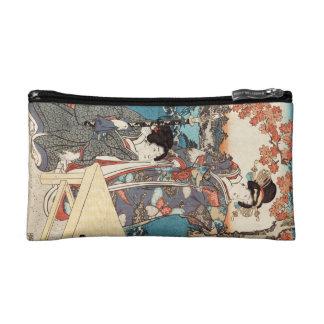 Cool japanese vintage ukiyo-e geisha old scroll makeup bag