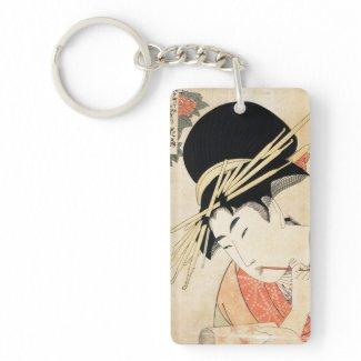 Cool japanese vintage ukiyo-e geisha portrait acrylic keychains