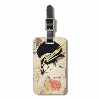 Cool japanese vintage ukiyo-e geisha portrait tag for bags