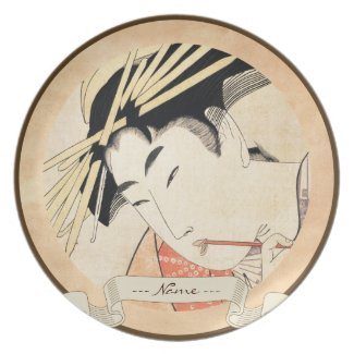 Cool japanese vintage ukiyo-e geisha portrait plate