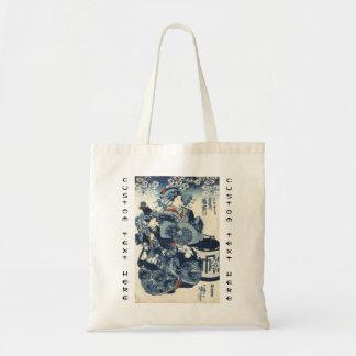 Cool japanese vintage ukiyo-e geisha scroll art tote bag