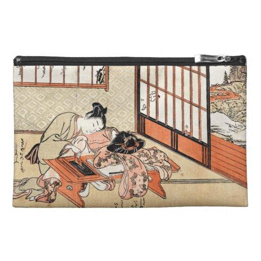 Cool japanese vintage ukiyo-e geisha scroll travel accessories bag