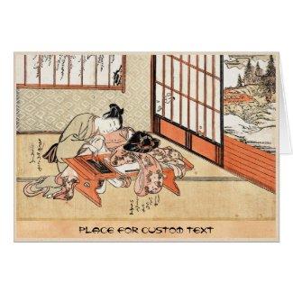 Cool japanese vintage ukiyo-e geisha scroll greeting card