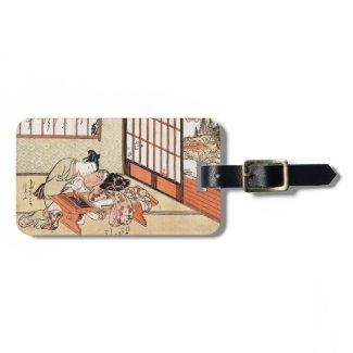 Cool japanese vintage ukiyo-e geisha scroll luggage tag