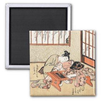 Cool japanese vintage ukiyo-e geisha scroll refrigerator magnet