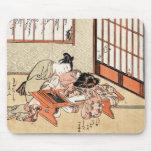 Cool japanese vintage ukiyo-e geisha scroll mouse pads
