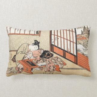 Cool japanese vintage ukiyo-e geisha scroll pillow