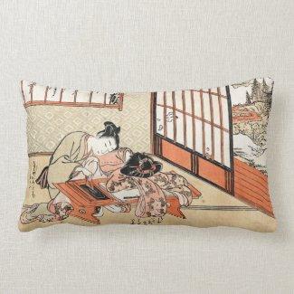 Cool japanese vintage ukiyo-e geisha scroll throw pillows