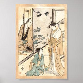 Cool japanese vintage ukiyo-e geisha scroll poster