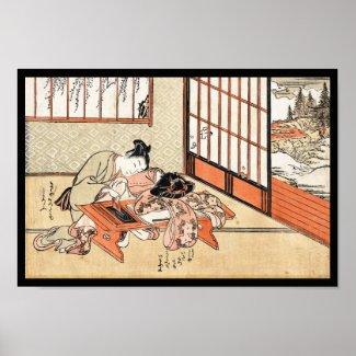 Cool japanese vintage ukiyo-e geisha scroll posters