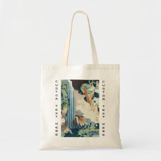 Cool japanese vintage ukiyo-e Hokusai waterfall Budget Tote Bag