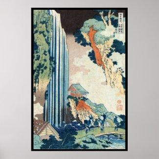 Cool japanese vintage ukiyo-e Hokusai waterfall Print