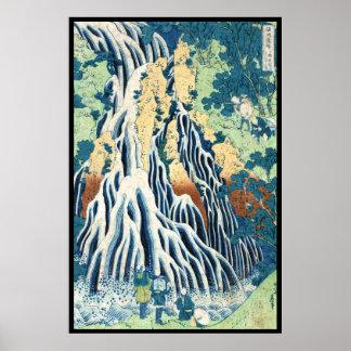 Cool japanese vintage ukiyo-e Hokusai waterfall Poster