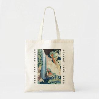 Cool japanese vintage ukiyo-e Hokusai waterfall Tote Bag