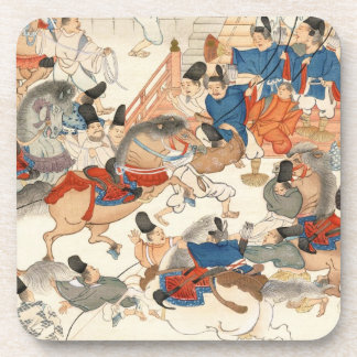 Cool japanese vintage ukiyo-e horse riders cavalry drink coaster