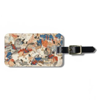 Cool japanese vintage ukiyo-e horse riders cavalry bag tags