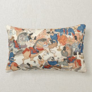 Cool japanese vintage ukiyo-e horse riders cavalry throw pillows
