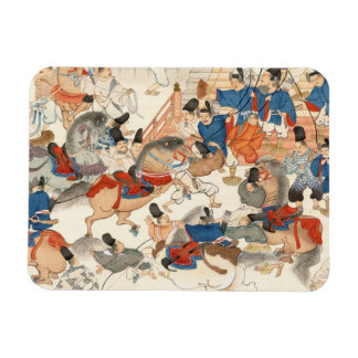 Cool japanese vintage ukiyo-e horse riders cavalry rectangular photo magnet