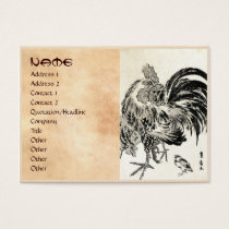 Cool japanese vintage ukiyo-e ink rooster chicken business card