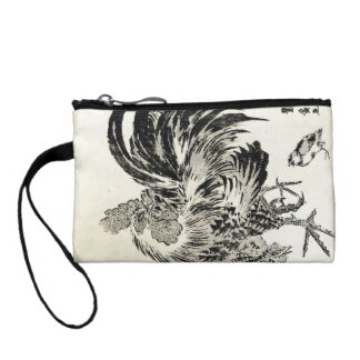 Cool japanese vintage ukiyo-e ink rooster chicken change purse