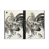Cool japanese vintage ukiyo-e ink rooster chicken iPad mini cover