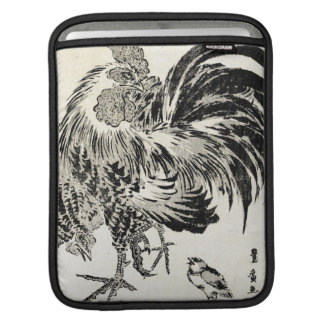 Cool japanese vintage ukiyo-e ink rooster chicken iPad sleeve
