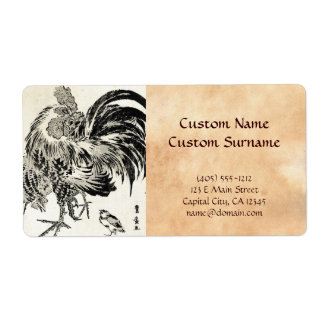 Cool japanese vintage ukiyo-e ink rooster chicken shipping labels