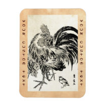 Cool japanese vintage ukiyo-e ink rooster chicken magnet