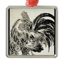 Cool japanese vintage ukiyo-e ink rooster chicken metal ornament