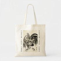 Cool japanese vintage ukiyo-e ink rooster chicken tote bag