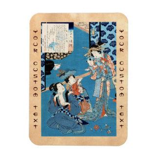 Cool japanese vintage ukiyo-e ladies and child art magnet