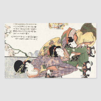Cool japanese vintage ukiyo-e lady and children rectangular sticker