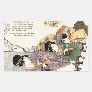 Cool japanese vintage ukiyo-e lady and children rectangle sticker