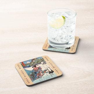 Cool japanese vintage ukiyo-e lady mountain scene beverage coasters