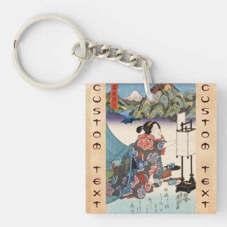 Cool japanese vintage ukiyo-e lady mountain scene acrylic keychains