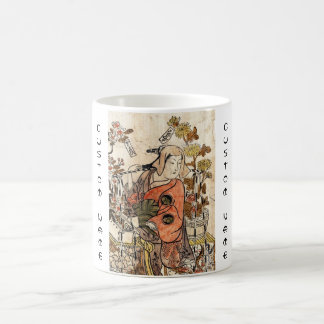 Cool japanese vintage ukiyo-e lady woman scroll coffee mug