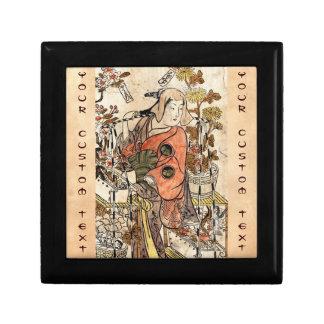 Cool japanese vintage ukiyo-e lady woman scroll jewelry box