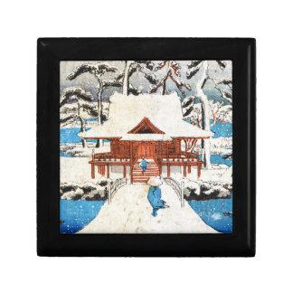 Cool japanese vintage ukiyo-e lake shrine snow jewelry box