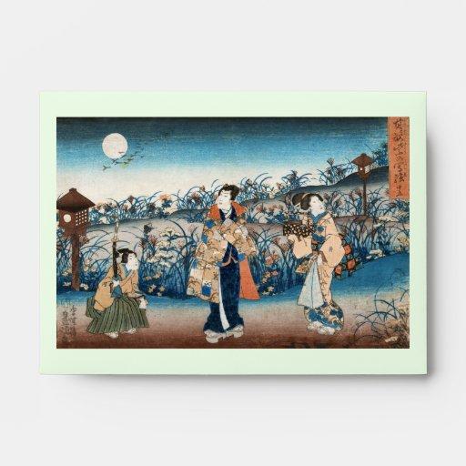 Cool japanese vintage ukiyo-e moonlit night scene envelopes