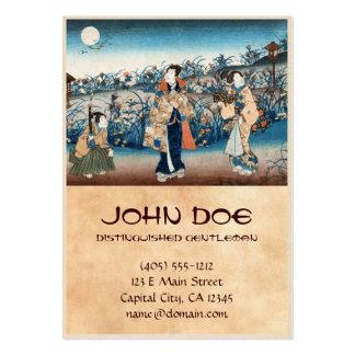 Cool japanese vintage ukiyo-e moonlit night scene large business card