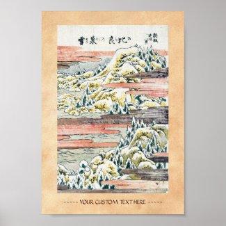 Cool japanese vintage ukiyo-e mountain field posters