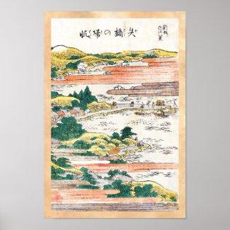 Cool japanese vintage ukiyo-e mountain field scene posters