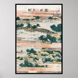 Cool japanese vintage ukiyo-e mountain field view poster