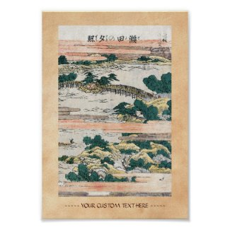 Cool japanese vintage ukiyo-e mountain field view posters
