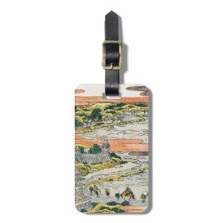 Cool japanese vintage ukiyo-e mountain fields art luggage tag