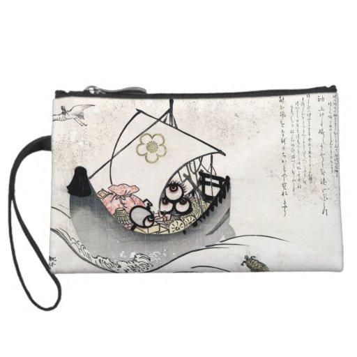 Cool japanese vintage ukiyo-e myth legend boat art wristlet purse