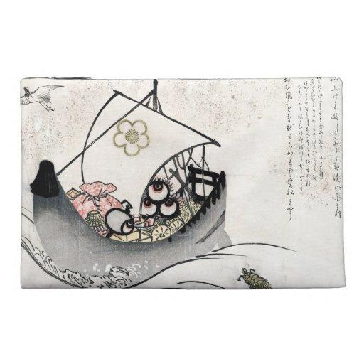Cool japanese vintage ukiyo-e myth legend boat art travel accessory bags