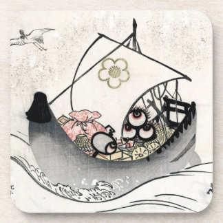 Cool japanese vintage ukiyo-e myth legend boat art beverage coaster
