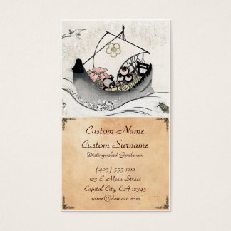 Cool japanese vintage ukiyo-e myth legend boat art business card
